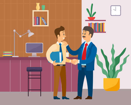 Two businessman handshake. Good deal, concept of business partnership vector cartoon style characters conclude success agreement. Man chief praises a young smiling subordinate holding his shoulder