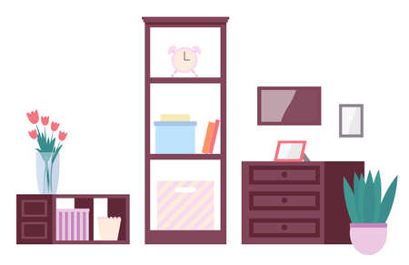 Living room furnishings. Illustration apartment interior room elements of furniture home cupboard and wooden chest of drawers with doors, shelf with books and boxes bedside table and vase of flowers