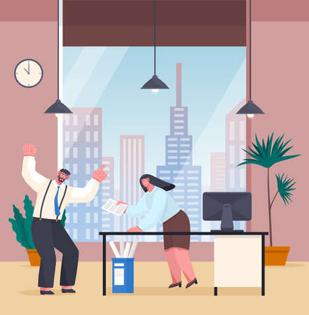 Businessman experiencing stress at work because of the deadline and office chaos. Annoyed angry male character screaming, emotionally wave his hands, panic. Woman is upset, holding hands by head