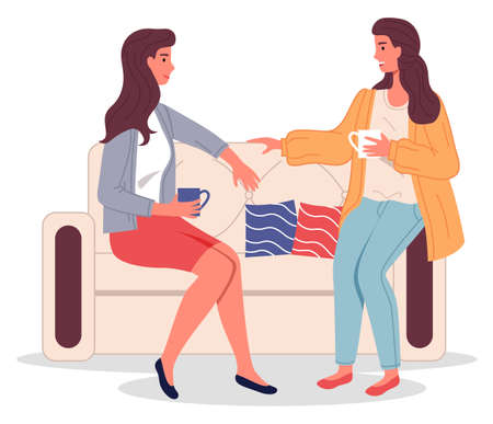 Two girl friends sitting on sofa drinking coffee and talking. Support and communication on meeting. Vector illustration of young woman acquaintances partners or colleagues in an informal setting