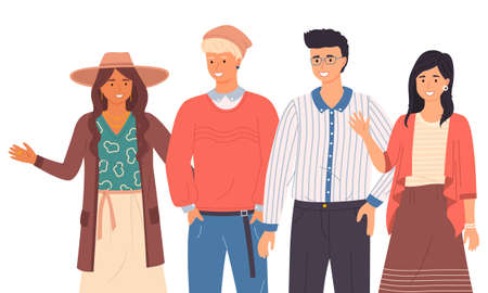 Group of fashion cartoon young people. Stylish teenagers boys and girls standing together on white background. Students of different nationalities. Friendly company waving a welcome gesture