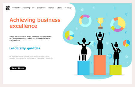 Achieving business excellence landing page tamplate, winner business and achievement concept. Business success educational web site. Big trophy for businessmen. Leadership qualities training 向量圖像