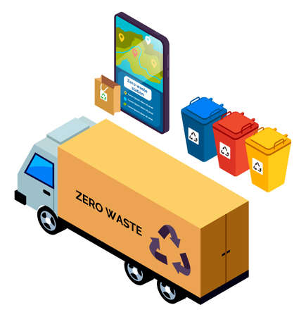 Truck, lorry, automobile with litter bags, garbage bins, application with zero waste station, ecology preservation, pollution prevention. Trash disposal business, utility service concept sketch