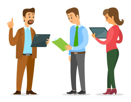 Businessmen are standing with folders and clipboards in their hands and talking, woman looking at the screen of tablet. Office workers discussing. Business meeting and consideration of working issues Illustration