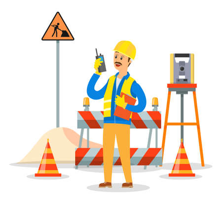 Builder engineer phone calling on construction. Foreman in helmet business communication concept, man talking on the walkie-talkie standing near the barrage equipment and the road repair sign