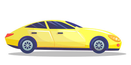 Yellow car vector template on white background. Business sedan isolated. Automobile side view flat style. Vehicle with tinted windows. Convenient mean of transportation, modern model of car