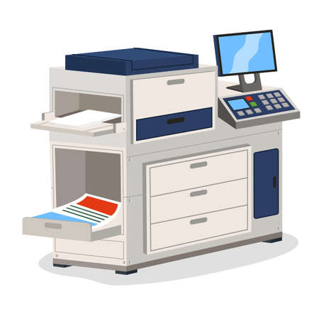 Printing house polygraphy industry isometric design concept with copier multifunction device isolated. Professional equipment for advertising agency for color wide-format printing digitally controlled