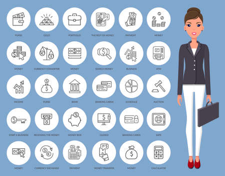 Illustration of businesswoman, secretary or manager. Set of round icon subjects. Young beautiful woman in modern jacket and white trousers. A woman stands and holds portfolio, female in strict costume Vetores