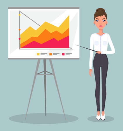 Young beautiful slender businesswoman points to business statistics graph. Woman in a white blouse, black tight pants and high heels. Demonstration bar graphs and line graphs, business infographics