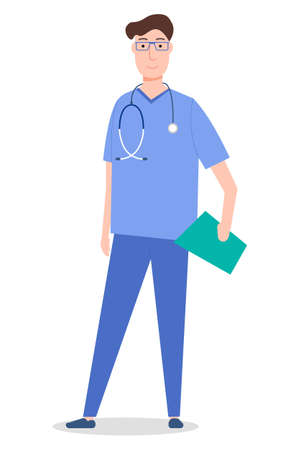 Standing and smiling medical specialist, male doctor, male therapist, stethoscope and clipboard. Medicine worker. Medical clothes, uniforms and equipment. Vector flat illustration isolated on white Çizim