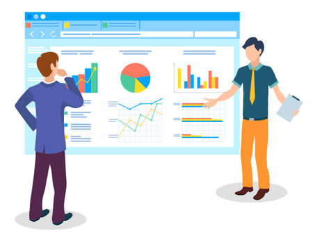 Men or managers study analytical data on huge cartoon monitor, bar and pie charts, area diagram, up arrows, growth. Consumer market analysis, customer base attraction. Flat image isolated on white