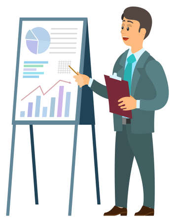 Businessman showing on board vector, stats and information with analysis flat style info. Man wearing suit and holding clipboard with pointer character