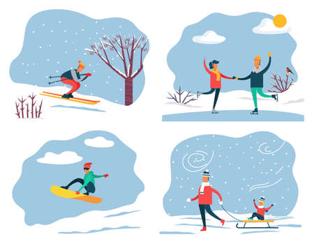 Set of people on winter vacation leading active and sportive lifestyle. Skiing and snowboarding, couple ice skating. Father pulling sleds with son sitting on it. Family weekends in wintertime vector Illustration