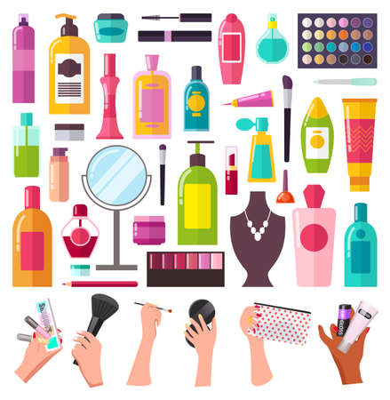 Large set of cosmetic accessories for beauty shampoo, milk, lipstick, mascara, creams, women s hands with makeup bag, makeup brushes, mirror. Huge selection of cosmetics. Icons for website, shop
