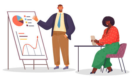 Cartoon office bearded man wears strict suit stands and points to board with analytical data, dark-skinned woman in bright red blouse and green pants sitting in burgundy chair at table with tablet