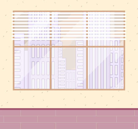 Large brown window frame, urban view, white blinds, beige decorative wall, pink tiled floor or parquet. Skyscrapers, office building, cityscape view. Office modern room. Flat vector illustration