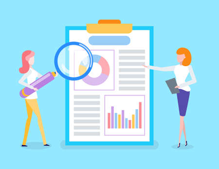 Businesslady analyzing received data vector. Business project results, people working on information processing. Lady with magnifying glass zooming