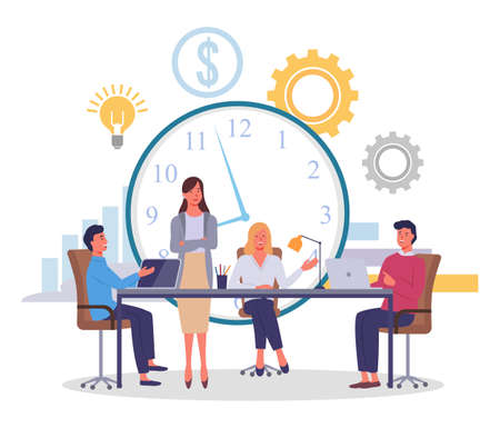 Huge conceptual clock, dollar icon, gears, idea light bulb, big table, employees, partners or competitors with laptops, woman manager standing, blond girl sitting. Negotiations, workflow. Flat image