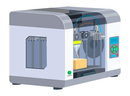 Industrial 3D printer prints a box concept. Print house equipment, digital model of a volumetric product. Modern print technologies, empty operator workplace with printing machine isolated on white
