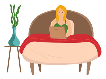 Young blond girl lying in cozy bed and surfs the Internet using a laptop, pot plant. Search for information on the network, communication, browsing web sites. Flat cartoon vector illustration