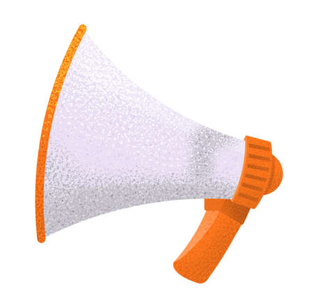 Megaphone flat vector illustration, loudspeaker sound amplification device on white background. Mouthpiece symbol or icon with orange handle . News, notice, notify, advertising, promotion concept