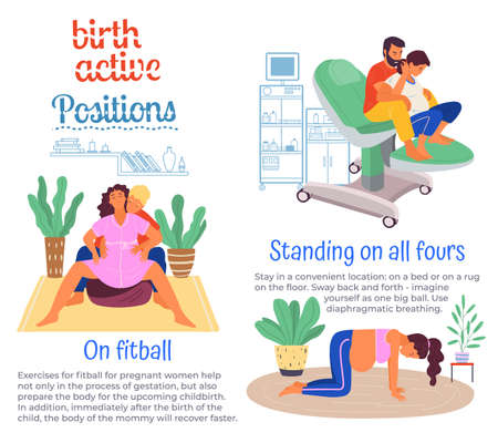 Position of pregnant woman, reproduction set. Females with belly giving birth on all floors, fitball. Husband helps childbirth. Birth labor positions and postures. Get ready for upcoming childbirth
