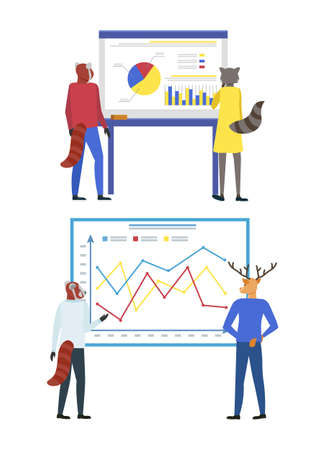 Hipster animals vector, presentation on whiteboard, information explained by mentor, coach cat by smart desk. Seminar and meeting of workers isolated