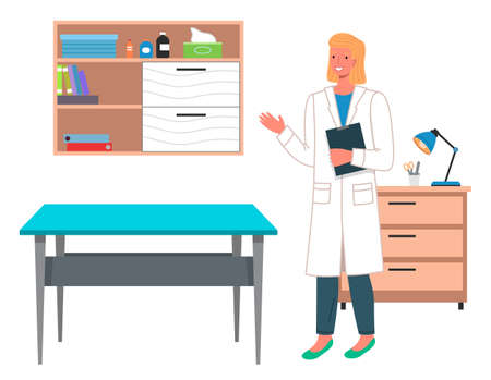 Young blond woman doctor or veterinarian in a hospital coat in medical office with a clipboard. Table for examination of patients or pets. The interior of doctor s office. Reception at the vet