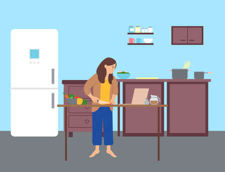 Girl is standing and preparing food, looking at a laptop in the kitchen. Surfing internet, browsing pages, watching master classes. Woman learns to cook using a laptop. Flat cartoon illustration