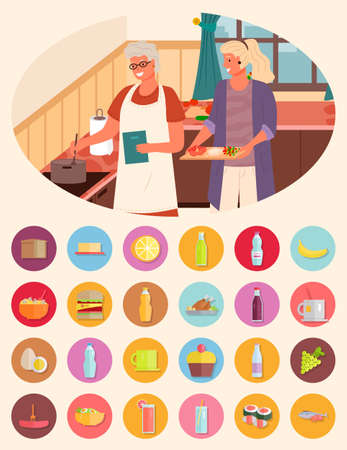 Collection of food ingredients, grandmother and granddaughter cooking soup together. Bread and cheese, water bottle and cupcake with cherry. Grapes fruit and tea in cup, japanese sushi vector