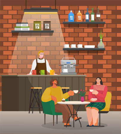 Man and woman are sitting at a table eating and drinking in restaurant. Friends have dinner in a cafe interior near modern wooden counter with male barista in coffee house flat vector illustration