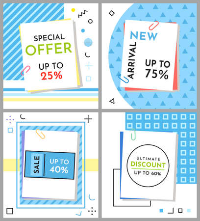 Trendy abstract geometric bubble hot sale. New arrival, big sale and special offer. Black friday up to. Big discount. Vivid banner retro poster design style. Vintage colors and shapes in memphis style Vektoros illusztráció