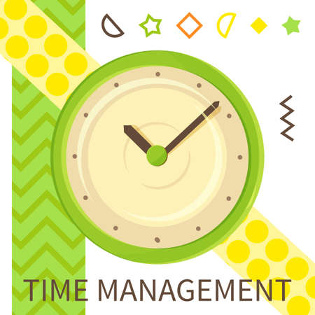 Time management banner with watch. Alarm clock quick time vector icon flat business illustration. Simple classic green round clock on white striped background with colorful geometric elements Ilustração
