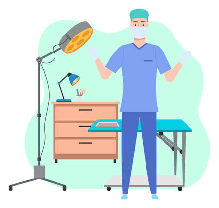 Male surgeon or veterinarian in uniform and mask standing with arms up near sectional table, floor-mounted operational light. Table lamp and medical instrument on cupboard. Green shapeless background