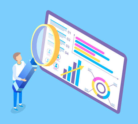Man with huge magnifier is looking at the giant screen tablet with pie and bar charts. Creative illustration of business processes. Person holding big loupe near colorful screen presentation