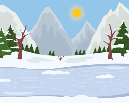 Ice on the river, snowy mountains, bright winter sun, clear frosty sky, spruce with white tops, snowy plains. Winter time, skiing on ice. Flat vector illustrationfor web, applications, games