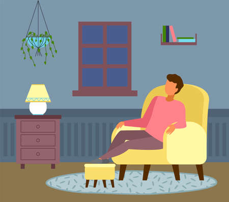 The night outside the window, man dozes off. Relaxing at home. Cozy living room interior, oval fleecy rug, armchair, bedside table with a cute yellow floor lamp, hanging home plant. Flat illustration