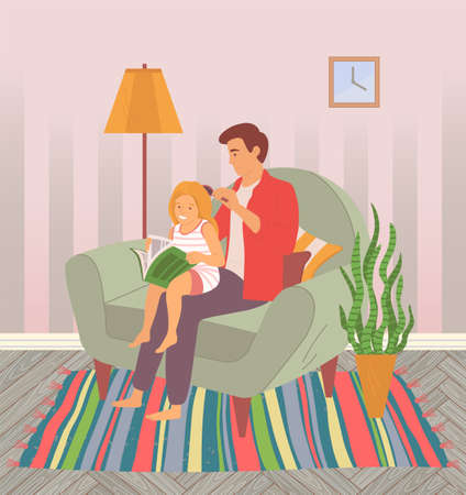 Little daughter sits on her father s lap. Dad is combing girl s hair. Girl leafing through book or magazine. Caring for your baby. Spend sweet time together at home. Father with daughter vector image