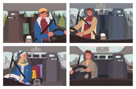 Set of four pictures of people driving car. Men and woman, drivers ride automobile carefully. Interior of vehicle salon, cabin. Winter view, landscape in window. Vector illustration in flat style