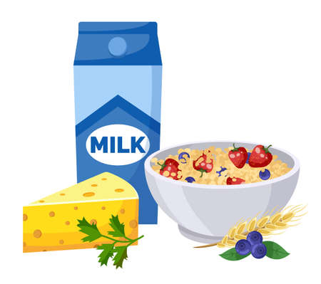 Package with milk, triangle of cheese, bowl with oatmeal, strawberries, bluberries, cereals, sprig of parsley. Natural organic food, fresh berries, dairy products. Keeping diet, healthy eating Ilustração