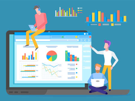 Programmers, coders or businessmen analysing data, chart, graphics, infographics at website. Man wearing headphones with digital tablet, young guy with laptop, man looking at screen, graphic charts Ilustración de vector