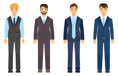 Collection of vector cartoon characters. Businessman wearing suit or costume with coat, tie, shirt, vest, trousers. Dresscode of adult business person. Different style costumes. Men clothing