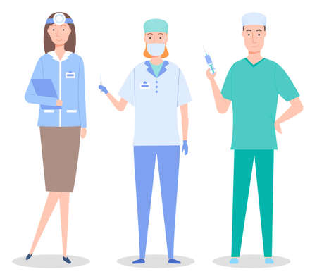 Cartoon characters, medical staff. Healthcare medicine concept. Ent woman with mirror, surgeon and assistant with syringe and scalpel. Medical help. Group of doctors, professional medical specialists