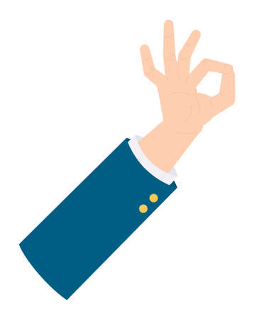 Isolated businessman s hand show ok sign. Hand showing okey symbol. Isolated person s hand gesturing. Good, cool job. Approval gesture icon. Vector illustration in flat style. Businessperson hand