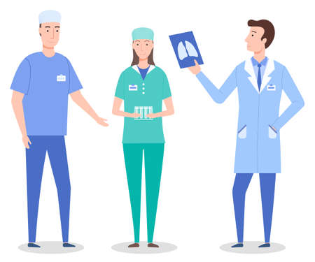Set cartoon characters of medical staff, workers. Healthcare medicine concept. Surgeon wearing medical suit, laboratory assistant or nurse with tubes, radiologist holding fluorography of lungs