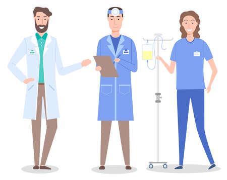 Set cartoon characters of medical staff. Healthcare medicine concept. Bearded doctor wearing white gown. Otolaryngologist or ent with clipboard. Nurse with medical equipment, drop counter or dropper