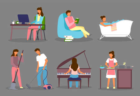 Set of cartoon characters. Woman working with computer. Man reading book. Girl taking bath. Couple cleaning floor. Woman playing piano. Young girl cooking. Lifestyle everyday routine