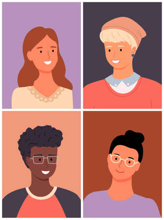 International people avatars, mix races young guys and girls, diverse nations, ethnicity, attractive blonde man in hat, smiling young girl, black african guy in glasses, brunette girl wear eyeglasses