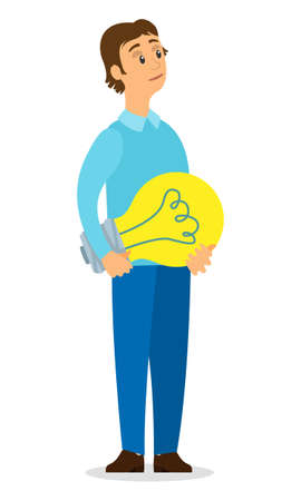 Young guy in blue casual suit standing and holding giant light bulb in his hand. The decision-making process, the emergence of ideas, creative thinking. Brainstorming. Financing of creative project