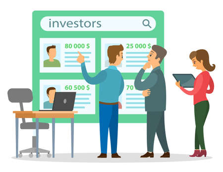 Cartoon businessmen choose financial investors, woman uses tablet. Office chair, desk with laptop. On large green board information about investors, sums of money. Financial investment and savings